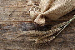 Rye with a linen bag Royalty Free Stock Photos