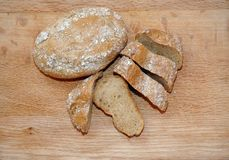 Rye little loafs of bread. Two little loafs of bread, one sliced into chunks Stock Photos