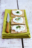 Rye loaves sandwich with homemade cottage cheese cream Stock Photos