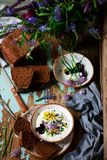 Rye malt bread and curd dip.style rustic. Selective focus royalty free stock image