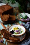 Rye malt bread and curd dip.style rustic. Selective focus stock photography