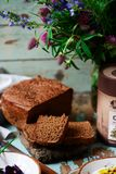 Rye malt bread and curd dip.style rustic. Selective focus stock images