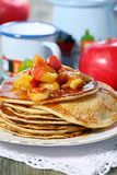 Rye pancakes with apples. Stock Images