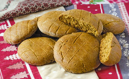 Rye pellet. Round bread cakes made of rye flour on the table Stock Photo