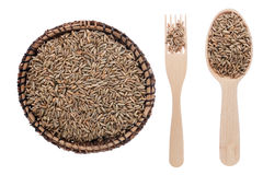 Rye in a plate, fork and spoon Stock Images