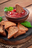 Rye rusks with spicy sauce Stock Images