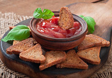 Rye rusks with spicy sauce Stock Image