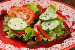 Rye sandwich with salad leaves, tomato, cucumber, bell pepper in. Red plate closeup closeup macro Stock Images