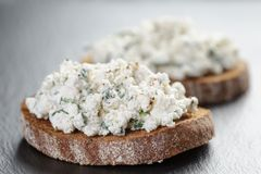 Rye sandwiches or bruschetta with ricotta cheese Royalty Free Stock Photos