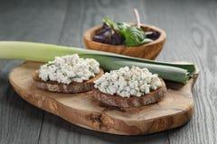 Rye sandwiches or bruschetta with ricotta cheese Stock Photography