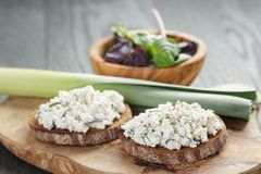 Rye sandwiches or bruschetta with ricotta cheese Stock Images