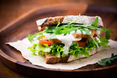 Rye toast sandwich with green leaf, tomato and chicken Stock Images