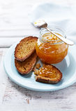 Rye Toasts with Peach Jam Royalty Free Stock Image