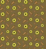 Rye wheat harvest vector seamless pattern ears of golden sunflower beautiful nature rural background. A pattern for packing bread, seeds, grain crops. Rye wheat Royalty Free Stock Photo