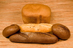Rye and white bread Stock Photos