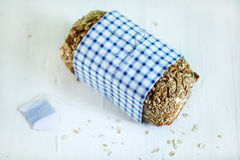 Rye whole grain bread loaf with seeds and oats Stock Photo