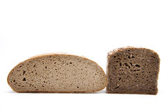 Rye and wholemeal bread halves Stock Image