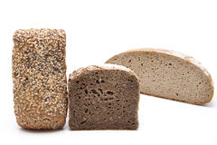 Rye and wholemeal bread with roll Stock Images