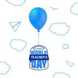 Ryggsäck för skola för dag för lärare` s i ballongvektor stock illustrationer