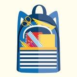 Ryggsäck med skolatillförsel Dra tillbaka till skolaillustration II Royaltyfria Foton