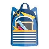 Ryggsäck med skolatillförsel tillbaka symbolsskola till Arkivfoto