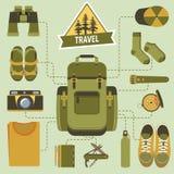 Ryggsäck och fotvandrautrustning stock illustrationer