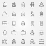 Ryggsäck- och påsesymboler royaltyfri illustrationer