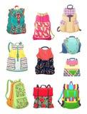 Ryggsäckar för flickor Fotografering för Bildbyråer