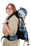 ryggsäckkvinna Arkivfoto