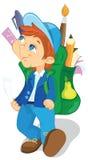 ryggsäckpojke royaltyfri illustrationer