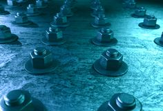 Rygle na stali matrycuje z błękitnym odcieniem Zdjęcie Stock