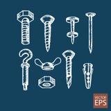 Rygle, śruby i dokrętki ustawiający ikony, Zdjęcie Royalty Free