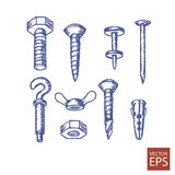 Rygle, śruby i dokrętki ustawiający ikony, Zdjęcie Stock