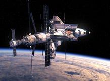 Rymdfärja och rymdstation som kretsar kring Earth Fotografering för Bildbyråer