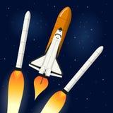Rymdfärja som avriver Rocket Engines Royaltyfria Foton