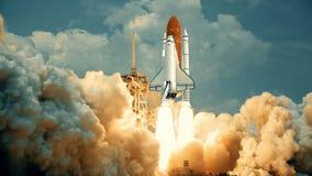 Rymdfärja som lanserar i ultrarapid Beståndsdelar av denna video som möbleras av NASA royaltyfri illustrationer