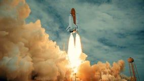 Rymdfärja som lanserar i ultrarapid Beståndsdelar av denna video som möbleras av NASA vektor illustrationer