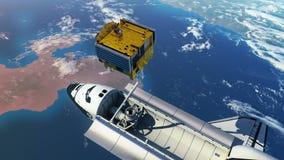 Rymdfärja som utplacerar kommunikationssatelliten stock illustrationer