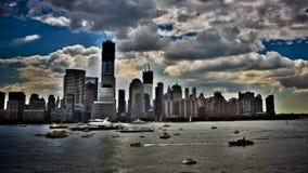 Rymdfärjaföretag, som det seglar ner Hudson Arkivbilder