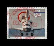 Rymdfärjan med hoppa fallskärm landning, circa 1998, Arkivbilder