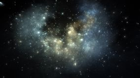 Rymdfart till och med nebulosan Klotformig nebulosa med cometary fnuren i djupt utrymme