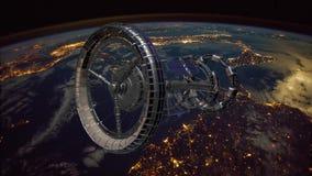 Rymdskepp f?r Sci Fi internationella rymdstationenISS p? den gr?na sk?rmen royaltyfri illustrationer