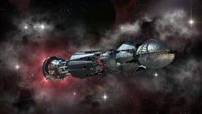 Rymdskepp i interstellärt lopp Royaltyfri Foto