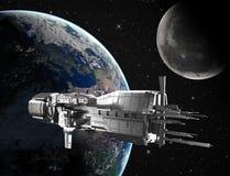 Rymdskepp med planetjord stock illustrationer