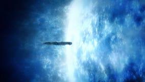 Rymdskepp nära glödande blåa Exoplanet stock illustrationer