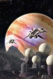 Rymdskepp- och Jupiter Moon koloni Arkivfoto