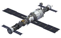 Rymdskepp och rymdstation Arkivfoto
