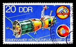 """Rymdskepp \ """"Soyuz \"""", Intercosmos program, gemensam rymdfart USS Royaltyfria Bilder"""
