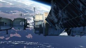 Rymdskeppanslutning till rymdstationen royaltyfri illustrationer