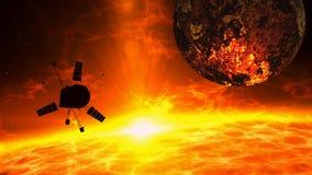 Rymdskeppflyg över det sol- utbrottet - utforskning stock illustrationer